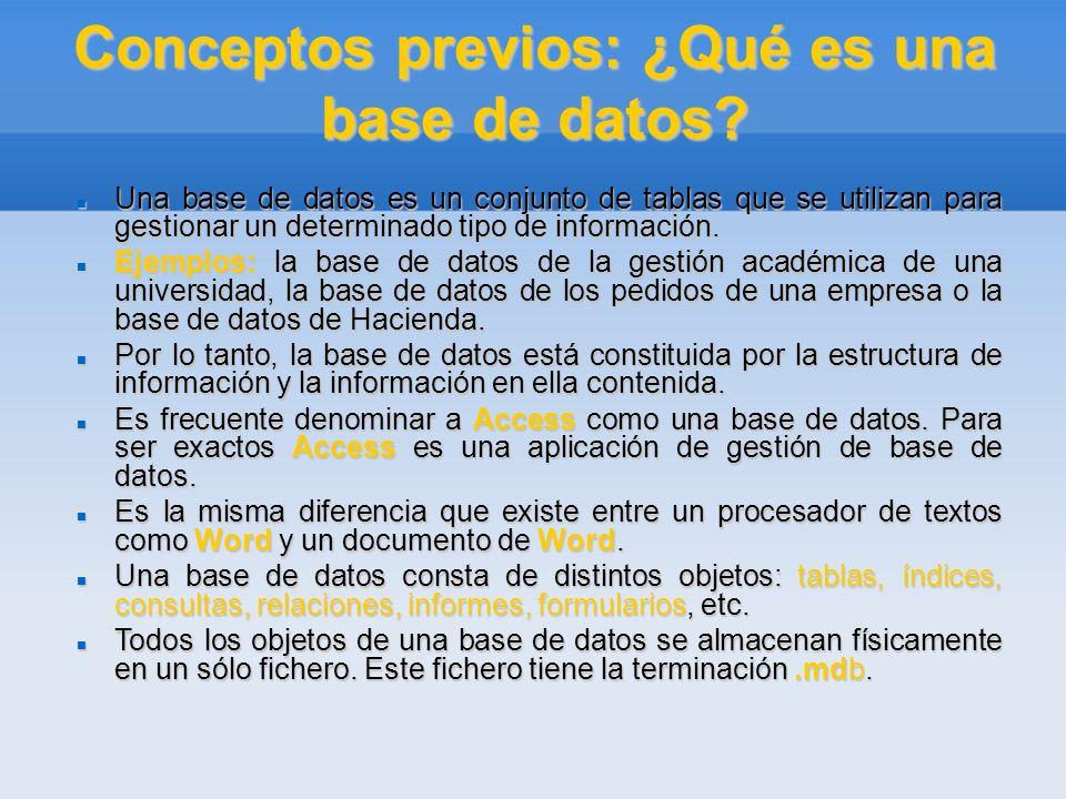 Conceptos previos: ¿Qué es una base de datos? Una base de datos es un conjunto de tablas que se utilizan para gestionar un determinado tipo de informa