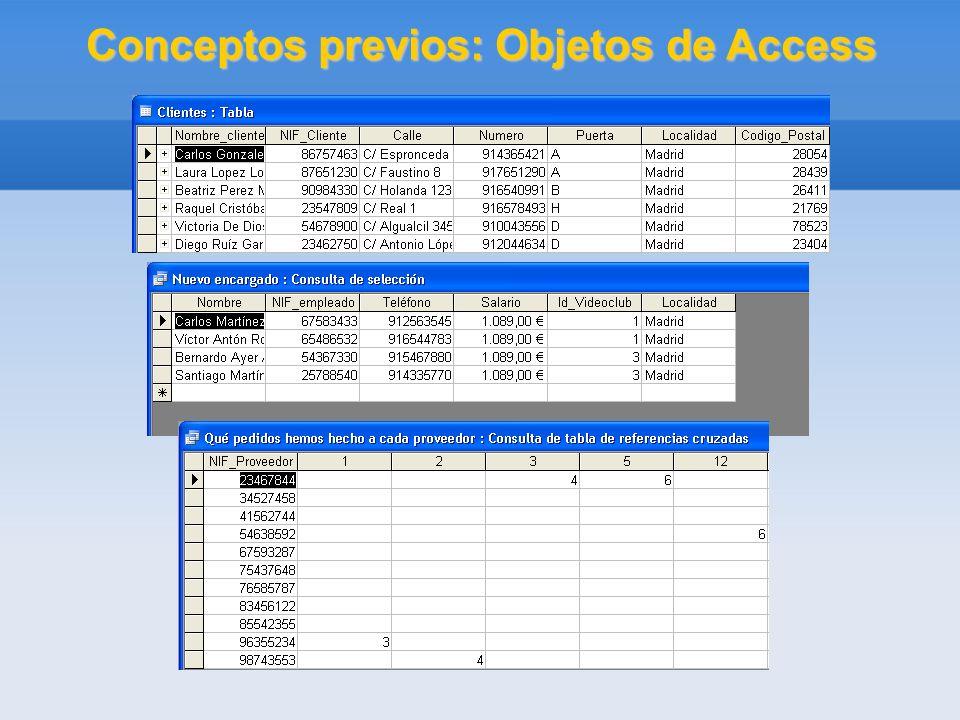 Conceptos previos: Objetos de Access