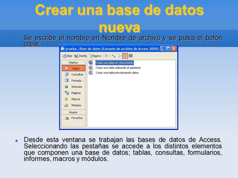Crear una base de datos nueva Se escribe el nombre en Nombre de archivo y se pulsa el botón crear. Se escribe el nombre en Nombre de archivo y se puls