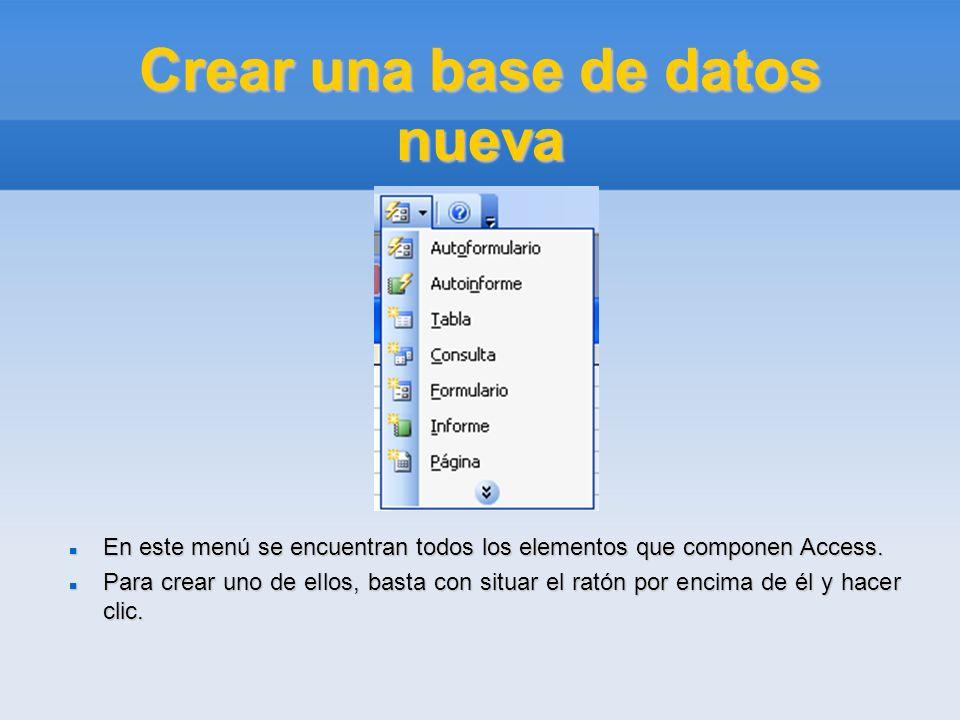 Crear una base de datos nueva En este menú se encuentran todos los elementos que componen Access. En este menú se encuentran todos los elementos que c