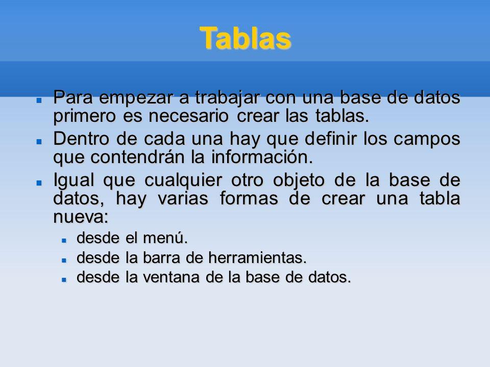 Tablas Para empezar a trabajar con una base de datos primero es necesario crear las tablas. Para empezar a trabajar con una base de datos primero es n