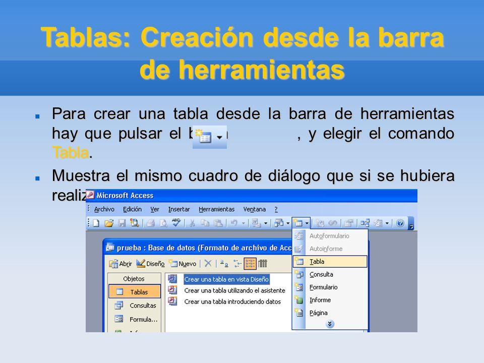 Tablas: Creación desde la barra de herramientas Para crear una tabla desde la barra de herramientas hay que pulsar el botón, y elegir el comando Tabla