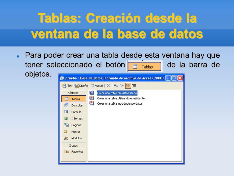 Tablas: Creación desde la ventana de la base de datos Para poder crear una tabla desde esta ventana hay que tener seleccionado el botón de la barra de