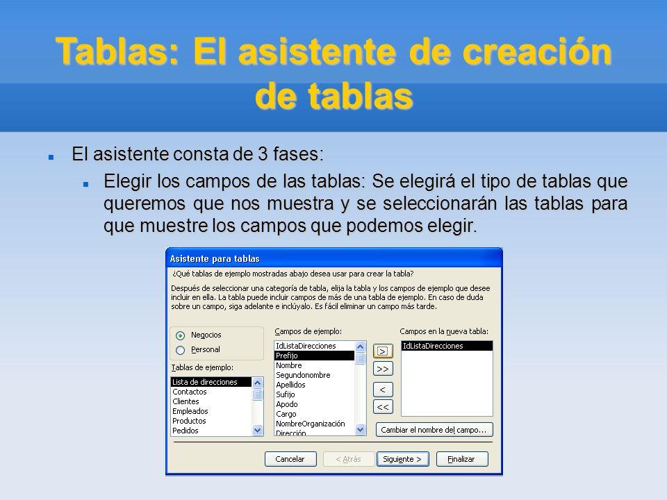 Tablas: El asistente de creación de tablas El asistente consta de 3 fases: El asistente consta de 3 fases: Elegir los campos de las tablas: Se elegirá