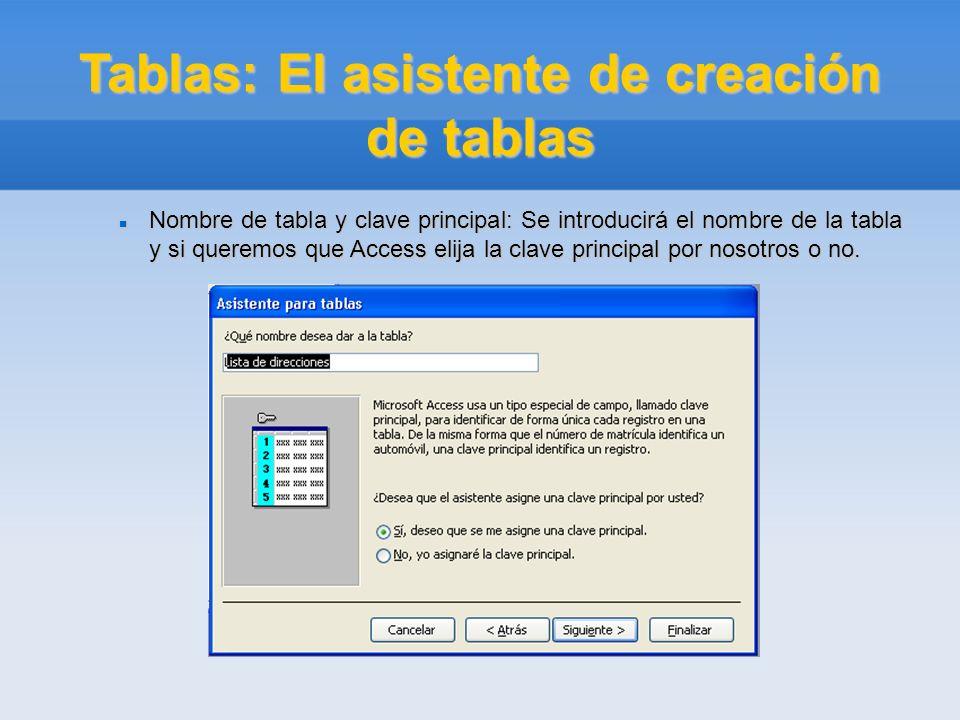 Tablas: El asistente de creación de tablas Nombre de tabla y clave principal: Se introducirá el nombre de la tabla y si queremos que Access elija la c