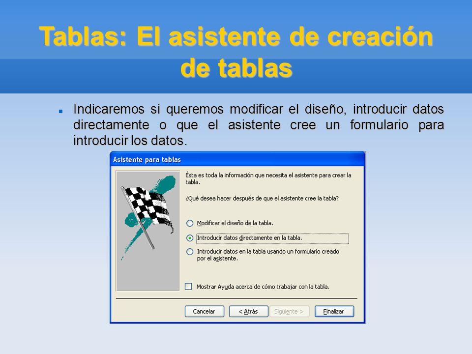 Tablas: El asistente de creación de tablas Indicaremos si queremos modificar el diseño, introducir datos directamente o que el asistente cree un formu