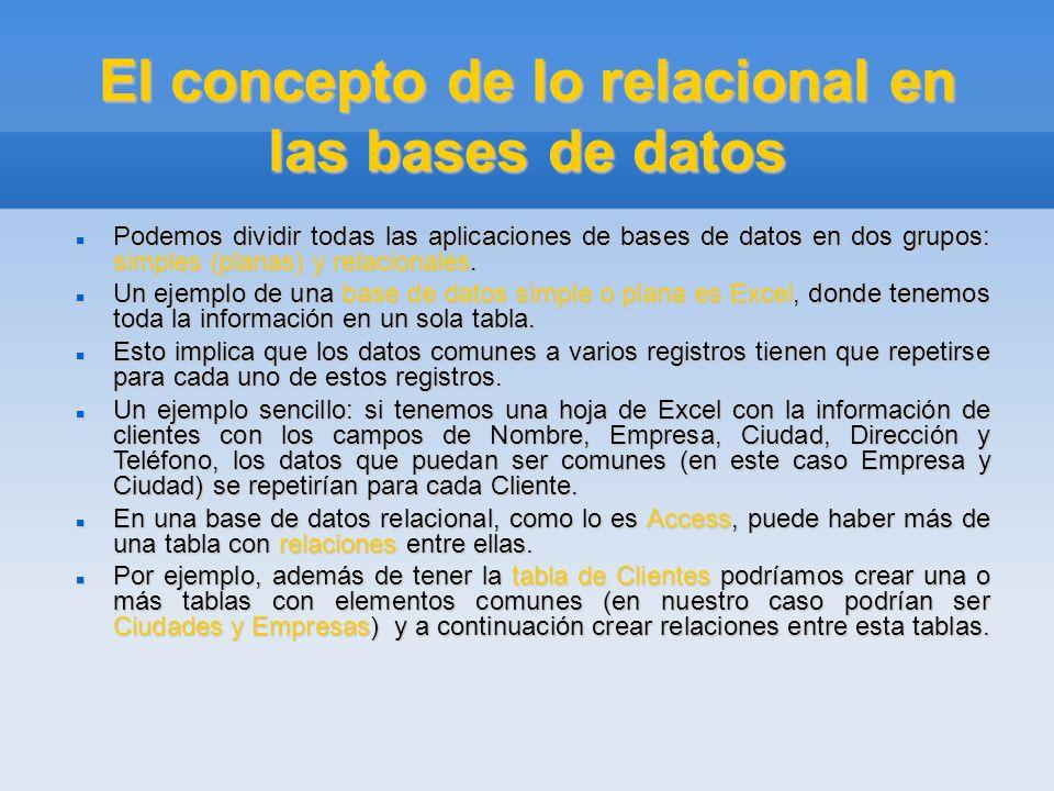 El concepto de lo relacional en las bases de datos Podemos dividir todas las aplicaciones de bases de datos en dos grupos: simples (planas) y relacion