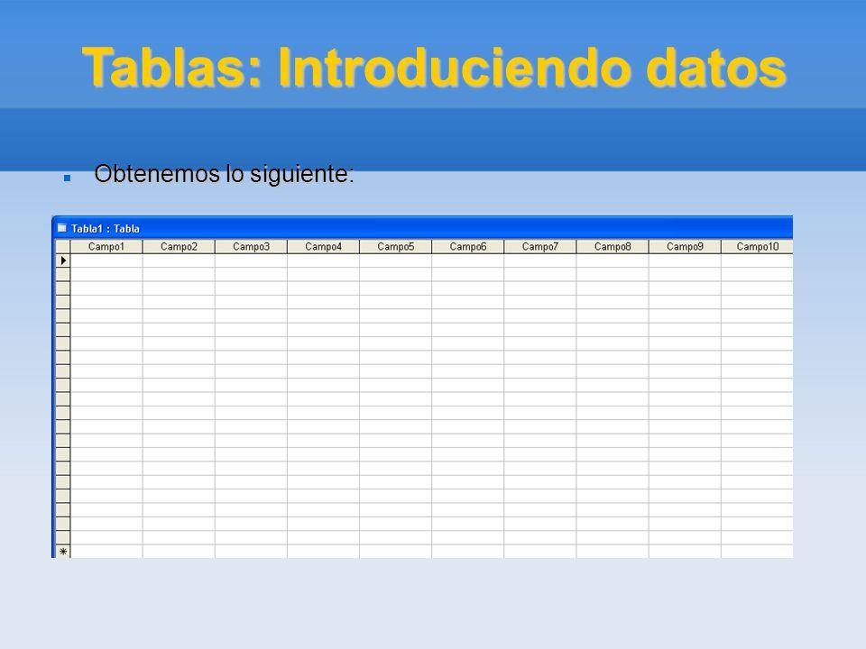 Tablas: Introduciendo datos Obtenemos lo siguiente: Obtenemos lo siguiente: