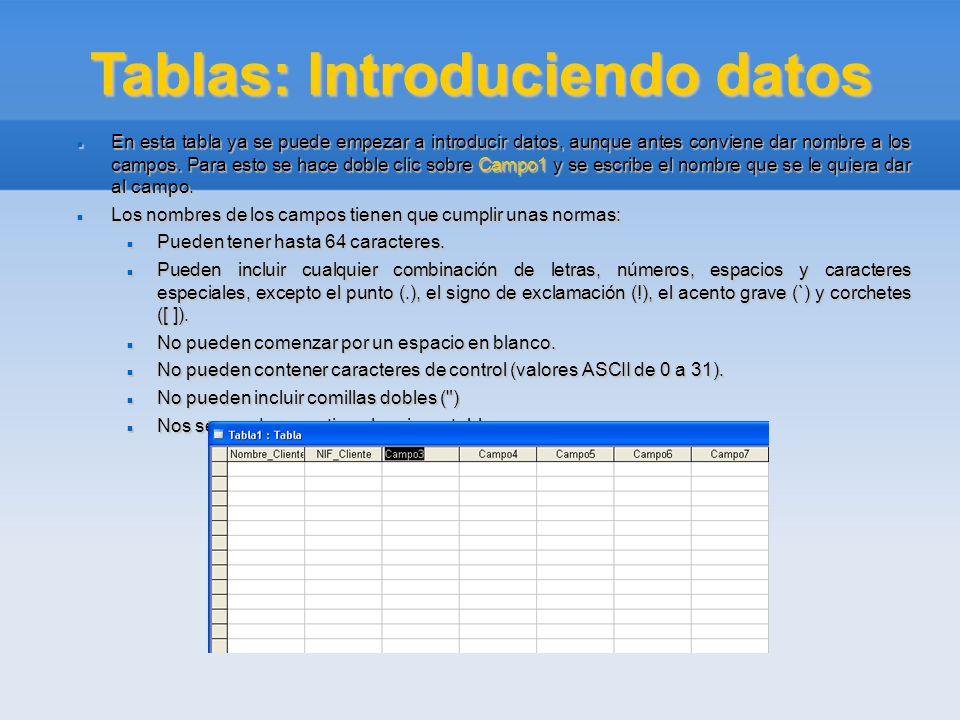 Tablas: Introduciendo datos En esta tabla ya se puede empezar a introducir datos, aunque antes conviene dar nombre a los campos. Para esto se hace dob