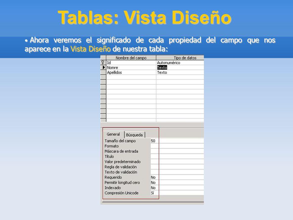 Tablas: Vista Diseño Ahora veremos el significado de cada propiedad del campo que nos aparece en la Vista Diseño de nuestra tabla: Ahora veremos el si