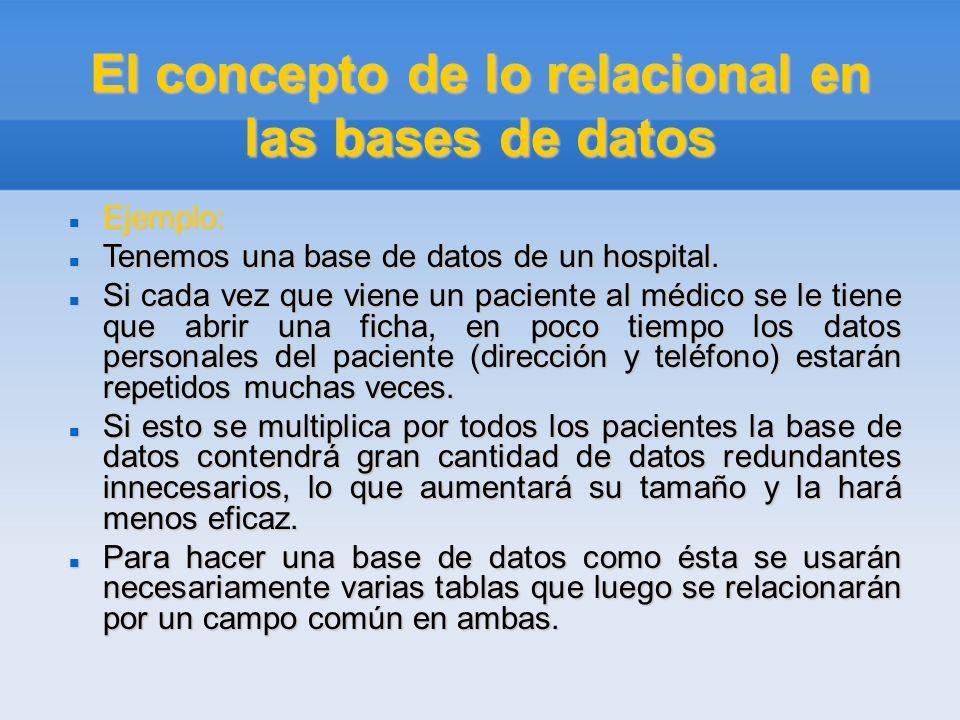 El concepto de lo relacional en las bases de datos Ejemplo: Ejemplo: Tenemos una base de datos de un hospital. Tenemos una base de datos de un hospita
