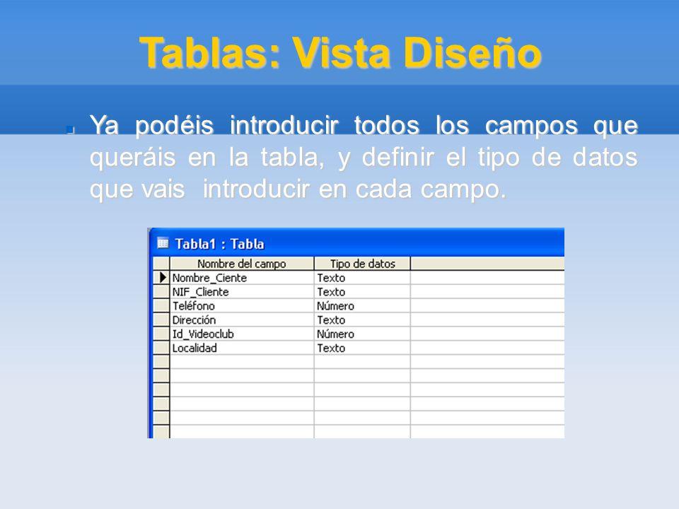 Tablas: Vista Diseño Ya podéis introducir todos los campos que queráis en la tabla, y definir el tipo de datos que vais introducir en cada campo. Ya p