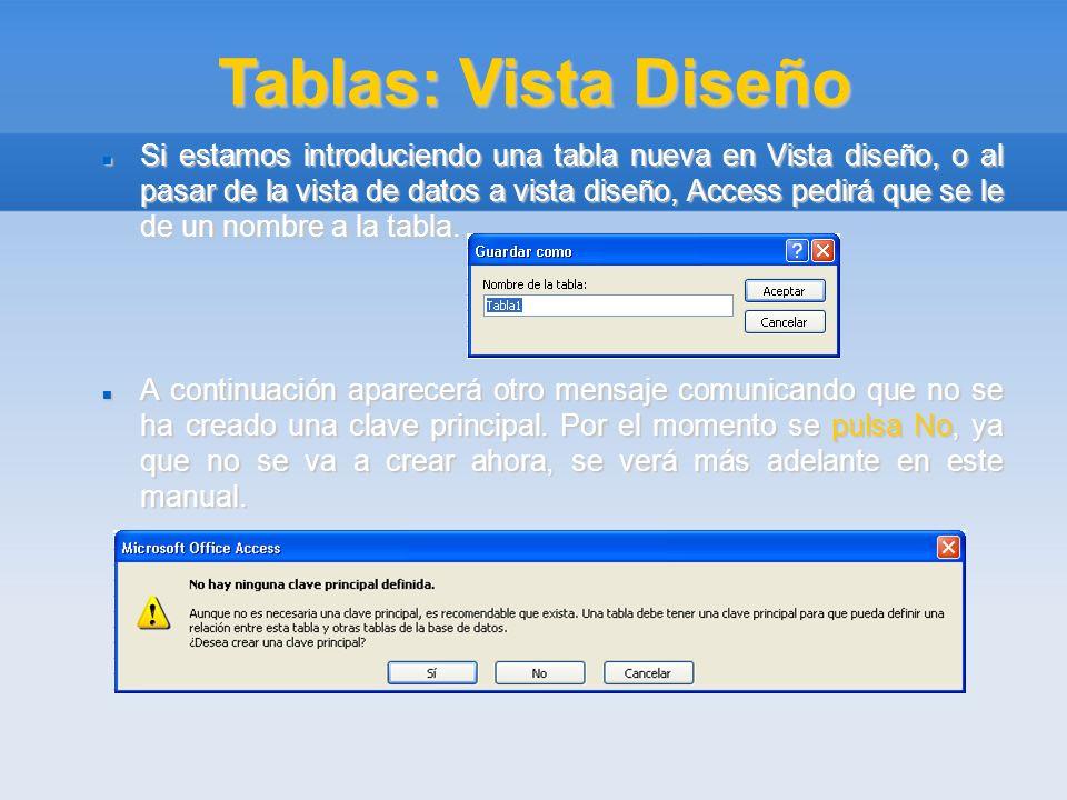 Tablas: Vista Diseño Si estamos introduciendo una tabla nueva en Vista diseño, o al pasar de la vista de datos a vista diseño, Access pedirá que se le