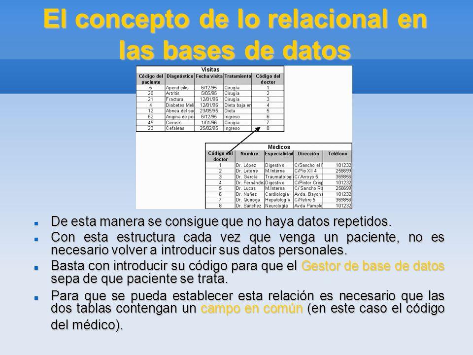 El concepto de lo relacional en las bases de datos A esta forma de organizar la base de datos mediante distintas tablas relacionadas por campos comunes se le llama base de datos relacional.