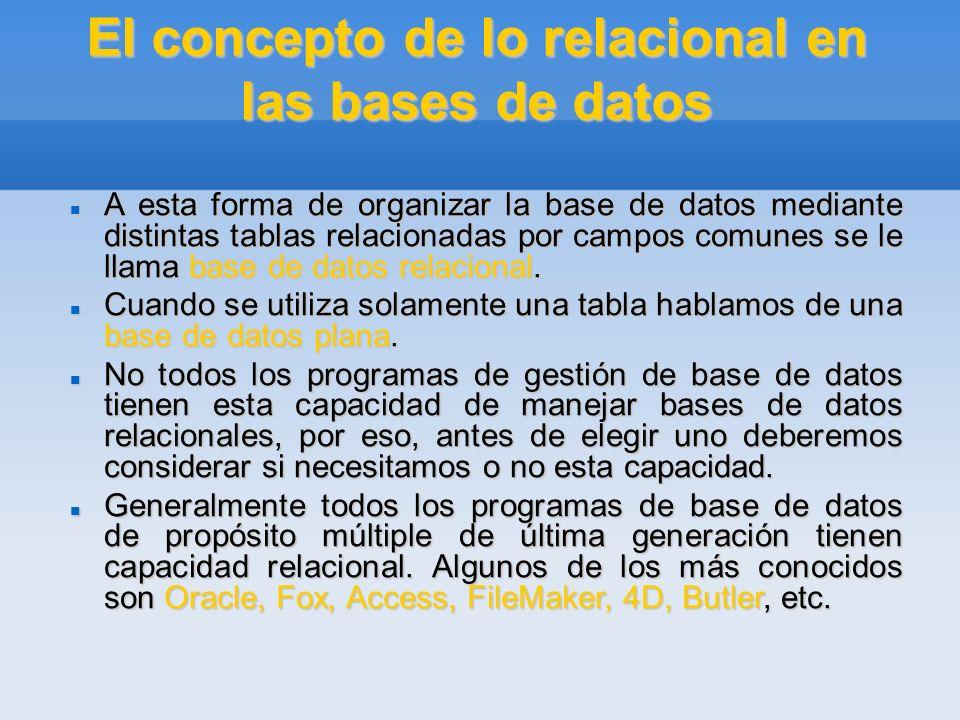 El concepto de lo relacional en las bases de datos A esta forma de organizar la base de datos mediante distintas tablas relacionadas por campos comune