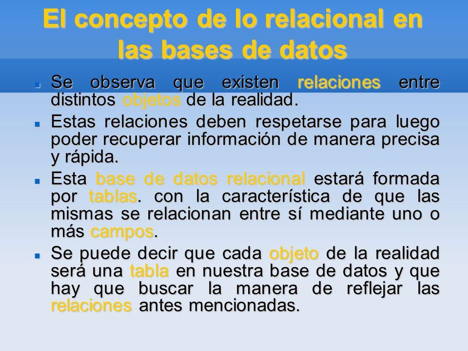 El concepto de lo relacional en las bases de datos Hemos visto como lo relacional proporciona muchas ventajas frente a lo simple: permite ahorrarnos el tiempo que perderíamos ingresando una y otra vez la misma información.