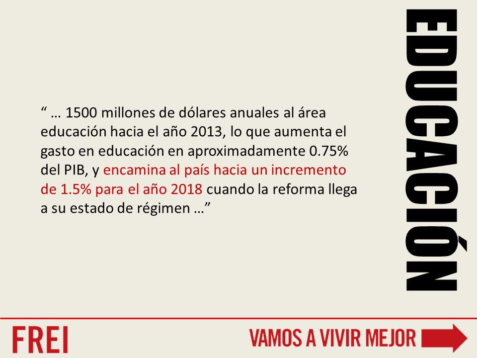 … 1500 millones de dólares anuales al área educación hacia el año 2013, lo que aumenta el gasto en educación en aproximadamente 0.75% del PIB, y encamina al país hacia un incremento de 1.5% para el año 2018 cuando la reforma llega a su estado de régimen …