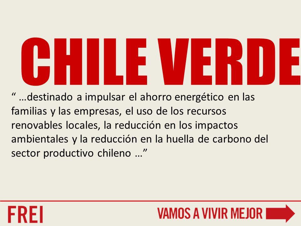 CHILE VERDE …destinado a impulsar el ahorro energético en las familias y las empresas, el uso de los recursos renovables locales, la reducción en los impactos ambientales y la reducción en la huella de carbono del sector productivo chileno …