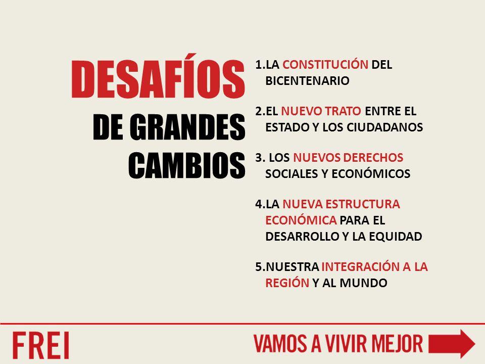 DESAFÍOS DE GRANDES CAMBIOS 1.LA CONSTITUCIÓN DEL BICENTENARIO 2.EL NUEVO TRATO ENTRE EL ESTADO Y LOS CIUDADANOS 3.