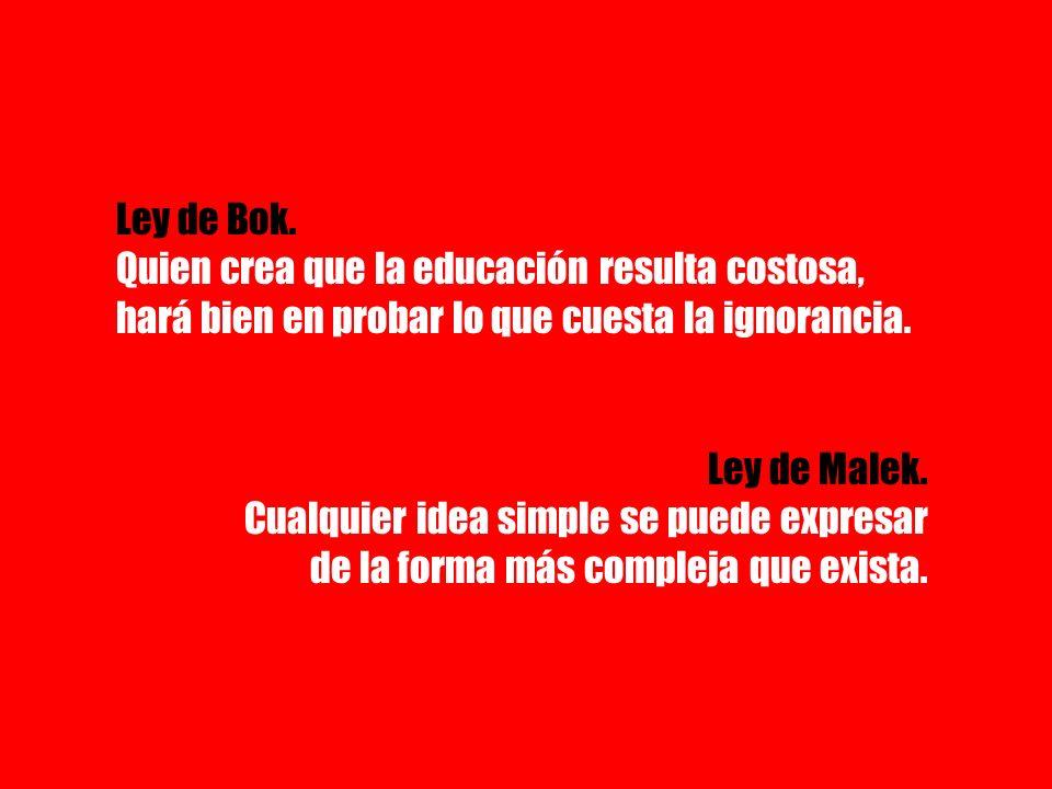 Ley de Bok. Quien crea que la educación resulta costosa, hará bien en probar lo que cuesta la ignorancia. Ley de Malek. Cualquier idea simple se puede