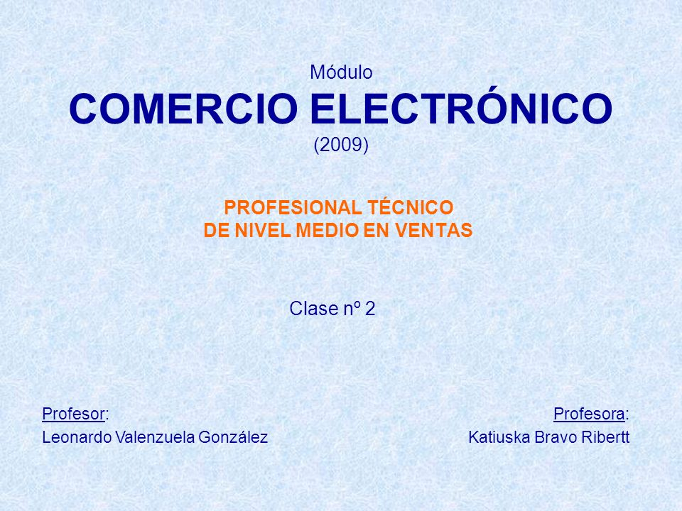 Módulo COMERCIO ELECTRÓNICO (2009) PROFESIONAL TÉCNICO DE NIVEL MEDIO EN VENTAS Clase nº 2 Profesor: Leonardo Valenzuela González Profesora: Katiuska