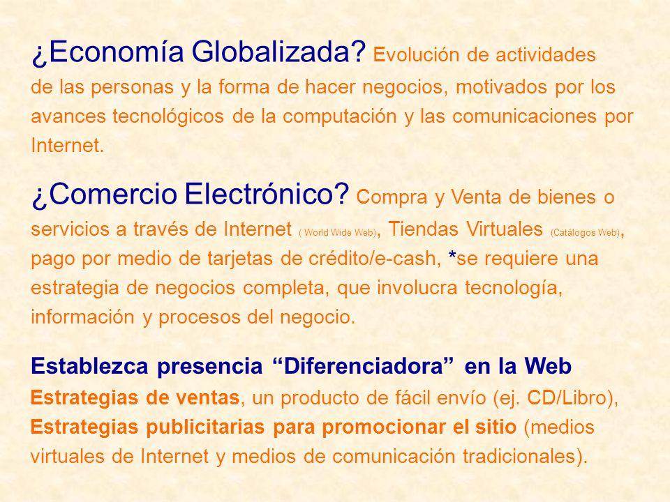¿Comercio Electrónico? Compra y Venta de bienes o servicios a través de Internet ( World Wide Web), Tiendas Virtuales (Catálogos Web), pago por medio