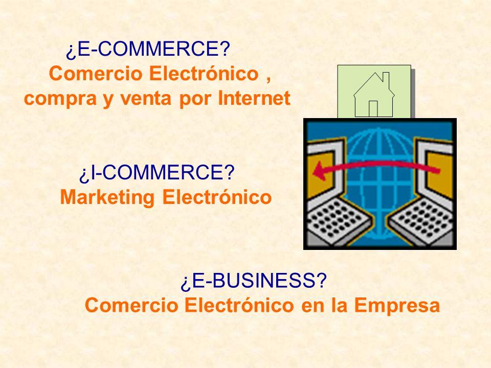 ¿E-COMMERCE? Comercio Electrónico, compra y venta por Internet ¿I-COMMERCE? Marketing Electrónico ¿E-BUSINESS? Comercio Electrónico en la Empresa