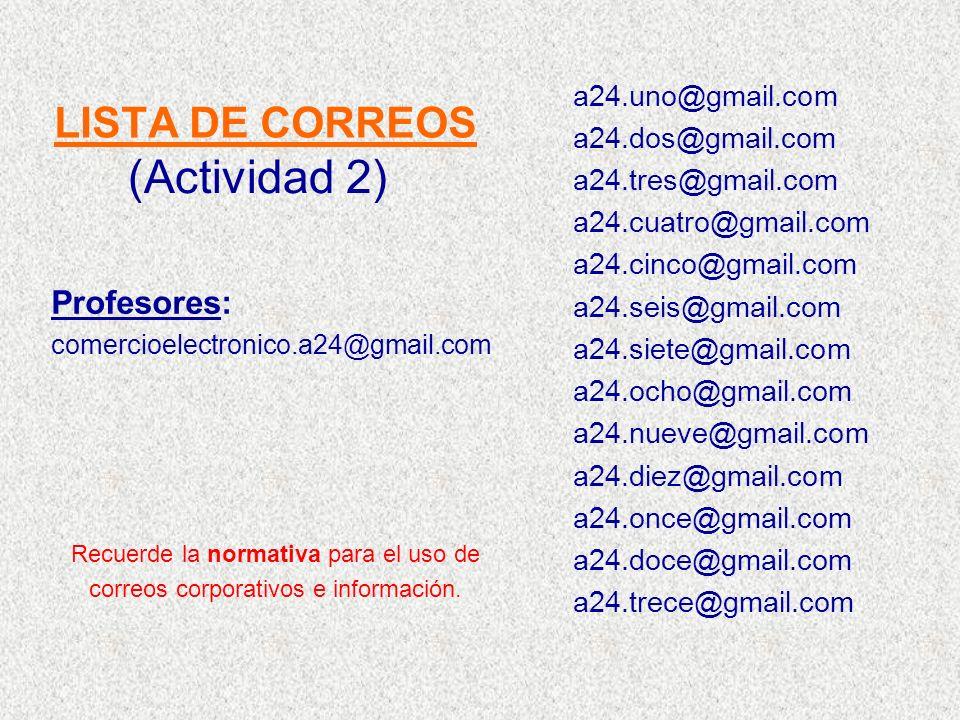 LISTA DE CORREOS a24.uno@gmail.com a24.dos@gmail.com a24.tres@gmail.com a24.cuatro@gmail.com a24.cinco@gmail.com a24.seis@gmail.com a24.siete@gmail.co