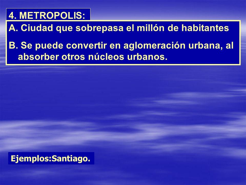 4. METROPOLIS: A. Ciudad que sobrepasa el millón de habitantes B. Se puede convertir en aglomeración urbana, al absorber otros núcleos urbanos. Ejempl