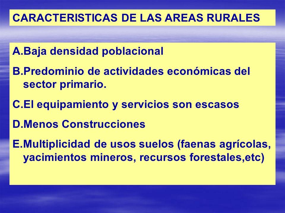 CARACTERISTICAS DE LAS AREAS RURALES A.Baja densidad poblacional B.Predominio de actividades económicas del sector primario. C.El equipamiento y servi