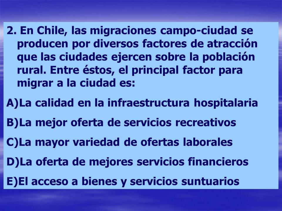 2. En Chile, las migraciones campo-ciudad se producen por diversos factores de atracción que las ciudades ejercen sobre la población rural. Entre ésto