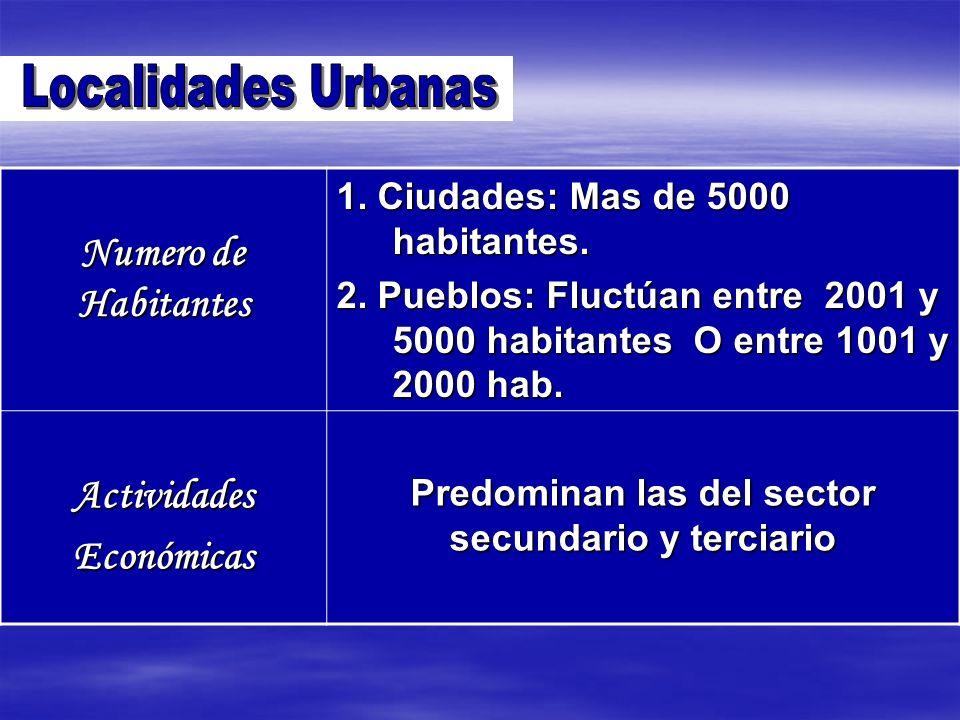 Numero de Habitantes 1. Ciudades: Mas de 5000 habitantes. 2. Pueblos: Fluctúan entre 2001 y 5000 habitantes O entre 1001 y 2000 hab. ActividadesEconóm
