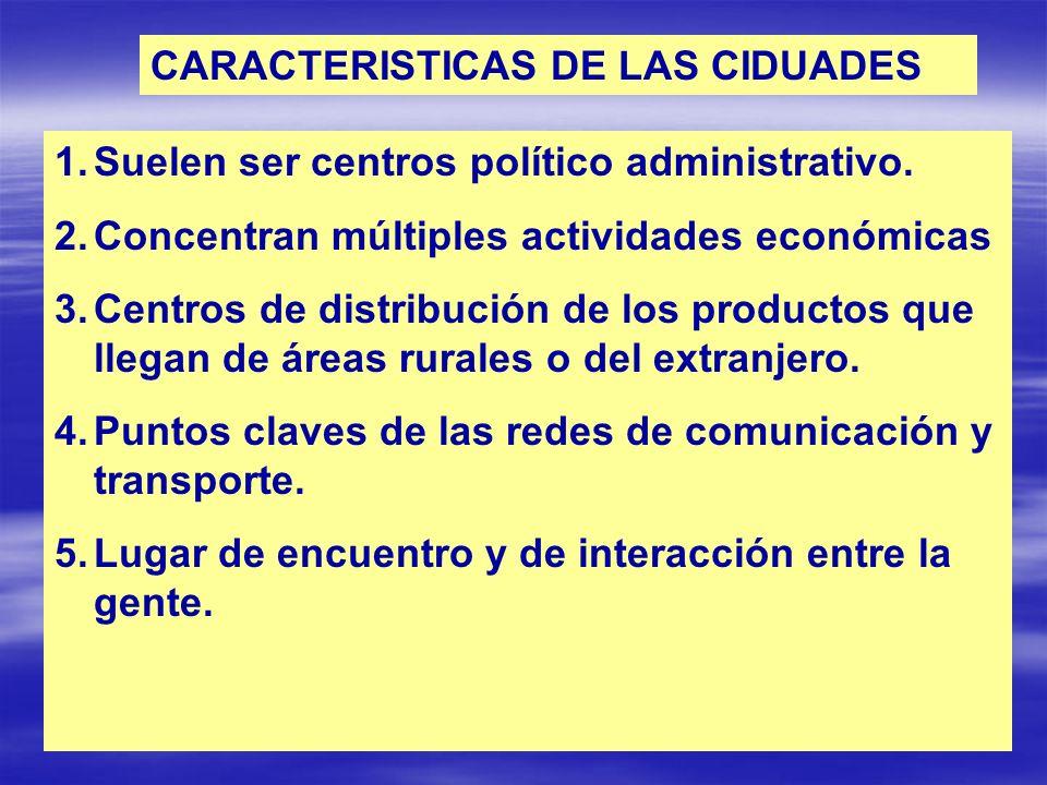 CARACTERISTICAS DE LAS CIDUADES 1.Suelen ser centros político administrativo. 2.Concentran múltiples actividades económicas 3.Centros de distribución