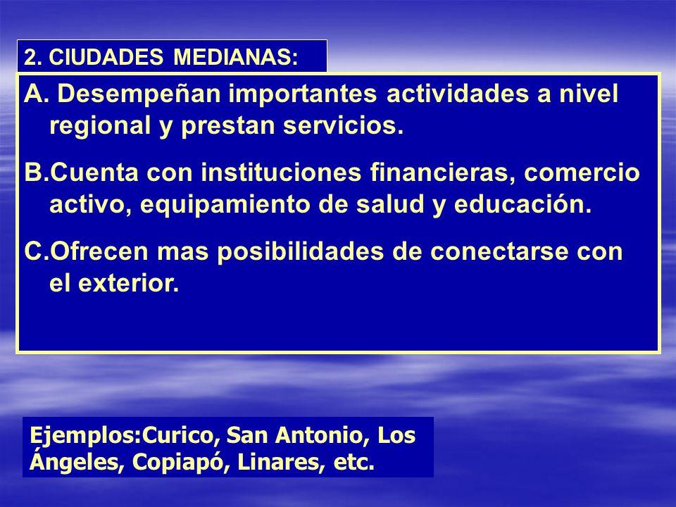 2. CIUDADES MEDIANAS: A. Desempeñan importantes actividades a nivel regional y prestan servicios. B.Cuenta con instituciones financieras, comercio act