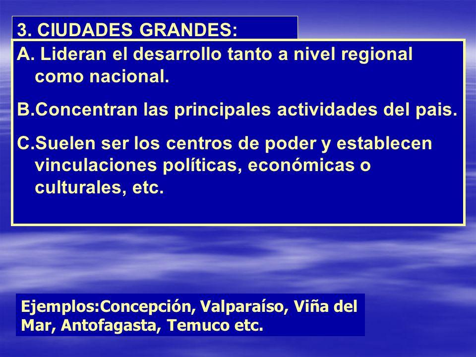 3. CIUDADES GRANDES: A. Lideran el desarrollo tanto a nivel regional como nacional. B.Concentran las principales actividades del pais. C.Suelen ser lo