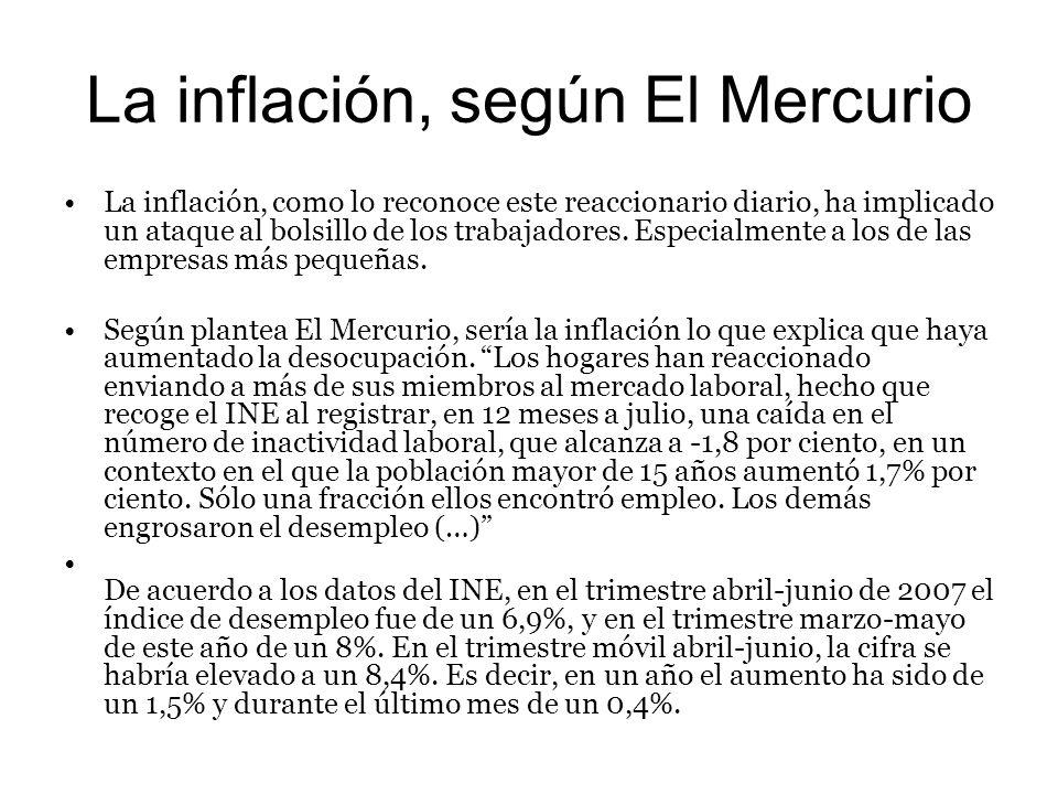 La inflación, según El Mercurio La inflación, como lo reconoce este reaccionario diario, ha implicado un ataque al bolsillo de los trabajadores.