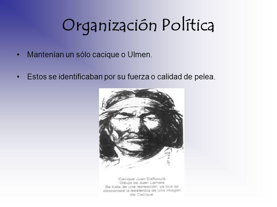 Organización Política Mantenían un sólo cacique o Ulmen. Estos se identificaban por su fuerza o calidad de pelea.