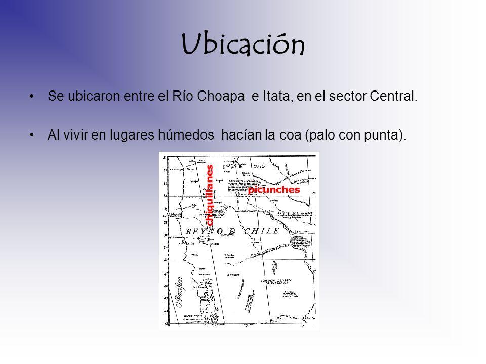 Ubicación Se ubicaron entre el Río Choapa e Itata, en el sector Central. Al vivir en lugares húmedos hacían la coa (palo con punta).