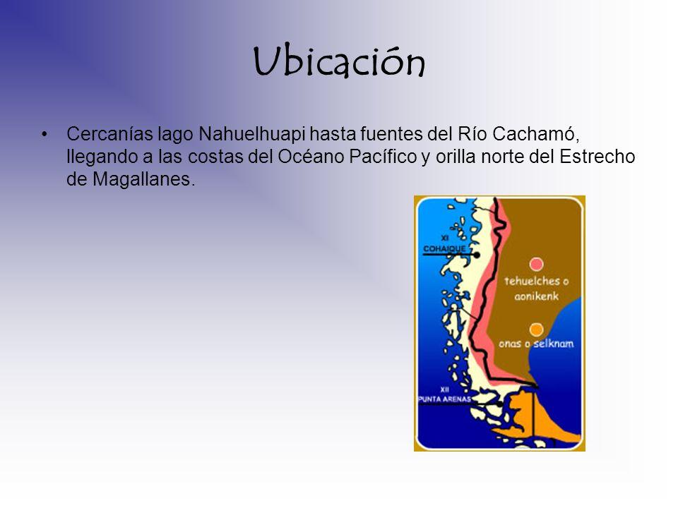 Ubicación Cercanías lago Nahuelhuapi hasta fuentes del Río Cachamó, llegando a las costas del Océano Pacífico y orilla norte del Estrecho de Magallane