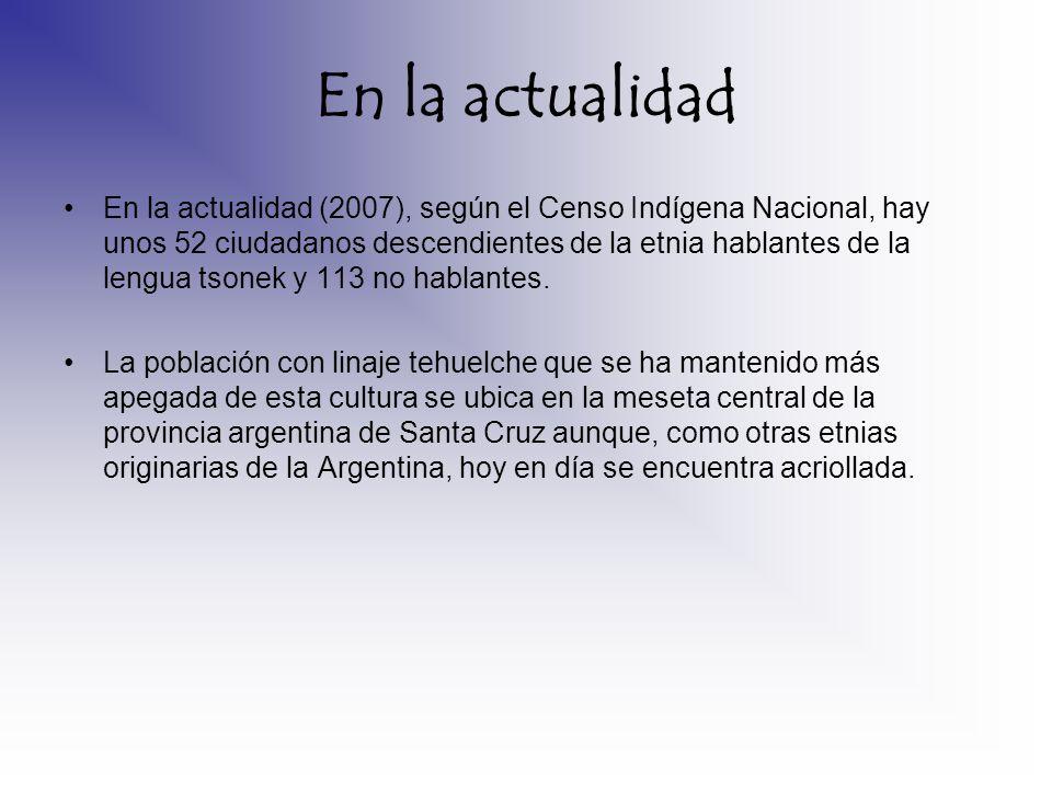 En la actualidad En la actualidad (2007), según el Censo Indígena Nacional, hay unos 52 ciudadanos descendientes de la etnia hablantes de la lengua ts