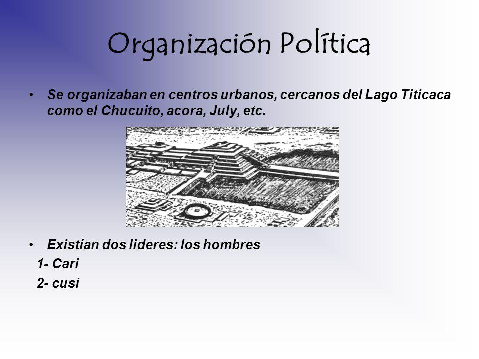 Organización Política Se organizaban en centros urbanos, cercanos del Lago Titicaca como el Chucuito, acora, July, etc. Existían dos lideres: los homb