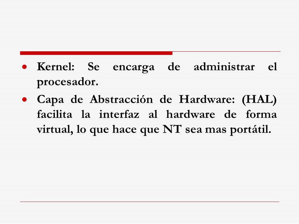 Kernel: Se encarga de administrar el procesador. Capa de Abstracción de Hardware: (HAL) facilita la interfaz al hardware de forma virtual, lo que hace