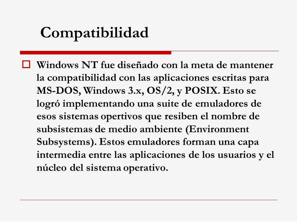 Compatibilidad Windows NT fue diseñado con la meta de mantener la compatibilidad con las aplicaciones escritas para MS-DOS, Windows 3.x, OS/2, y POSIX
