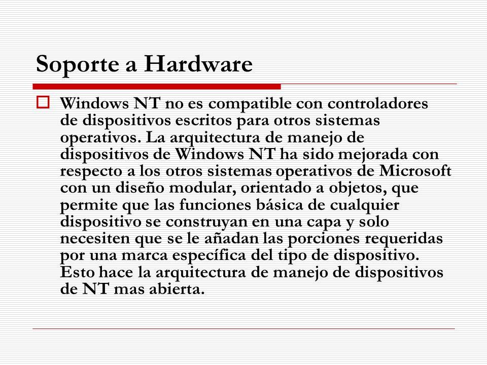 Soporte a Hardware Windows NT no es compatible con controladores de dispositivos escritos para otros sistemas operativos. La arquitectura de manejo de