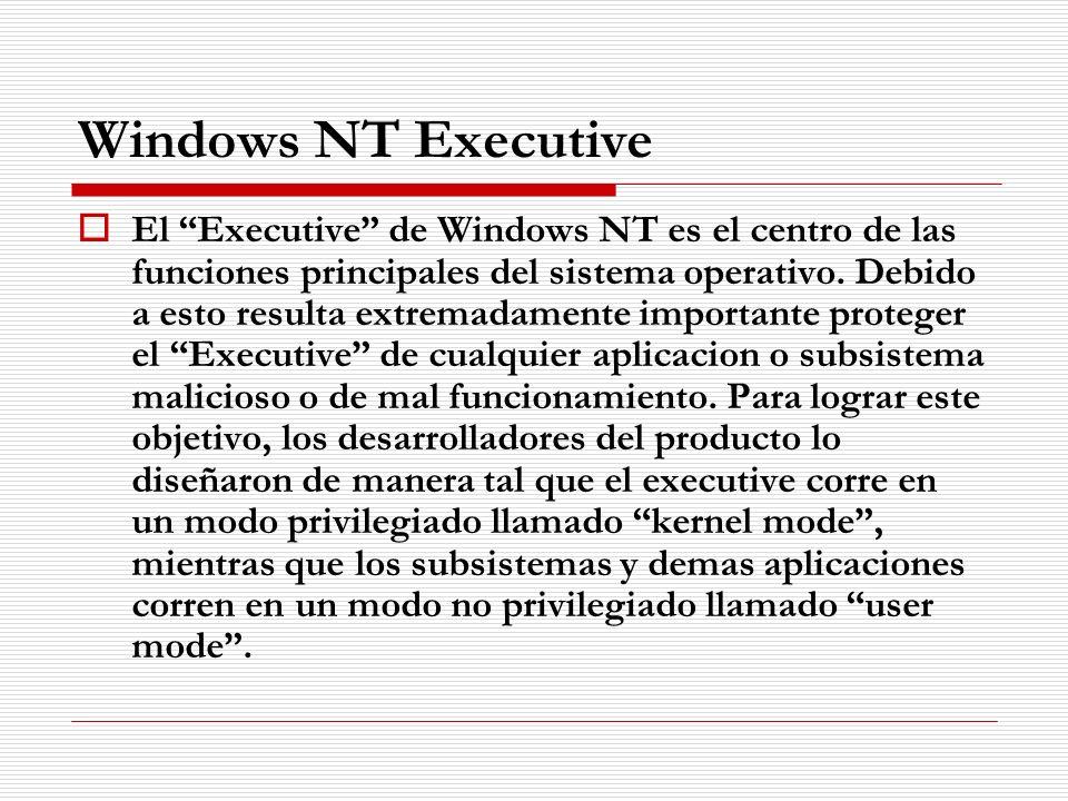 Windows NT Executive El Executive de Windows NT es el centro de las funciones principales del sistema operativo. Debido a esto resulta extremadamente
