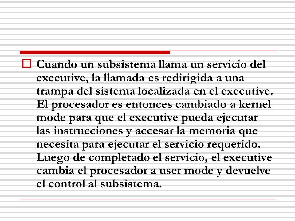 Cuando un subsistema llama un servicio del executive, la llamada es redirigida a una trampa del sistema localizada en el executive. El procesador es e