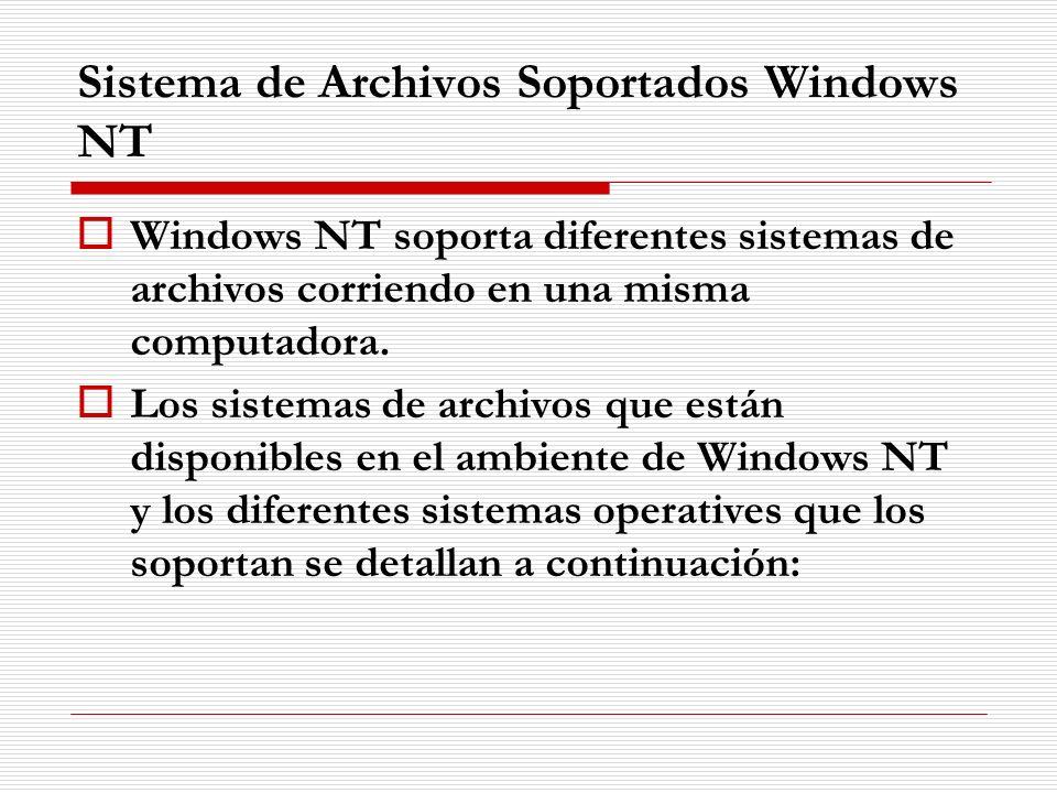 Sistema de Archivos Soportados Windows NT Windows NT soporta diferentes sistemas de archivos corriendo en una misma computadora. Los sistemas de archi