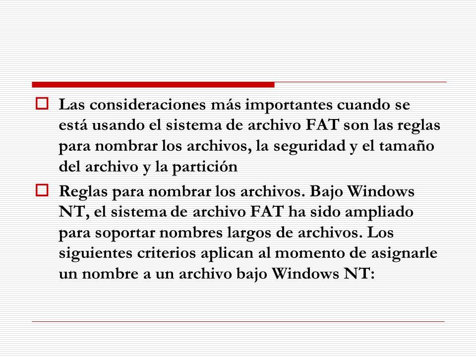 Las consideraciones más importantes cuando se está usando el sistema de archivo FAT son las reglas para nombrar los archivos, la seguridad y el tamaño