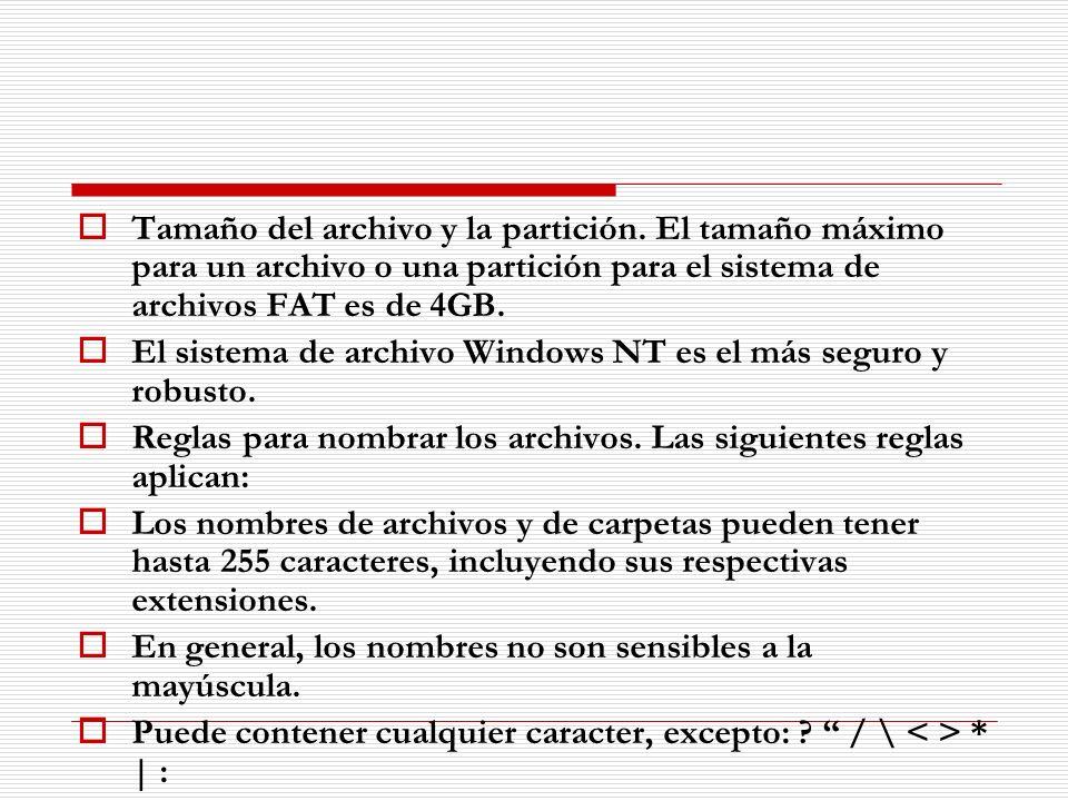 Tamaño del archivo y la partición. El tamaño máximo para un archivo o una partición para el sistema de archivos FAT es de 4GB. El sistema de archivo W