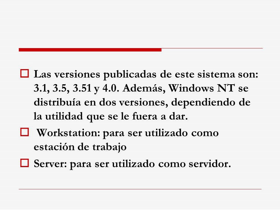 Las versiones publicadas de este sistema son: 3.1, 3.5, 3.51 y 4.0. Además, Windows NT se distribuía en dos versiones, dependiendo de la utilidad que